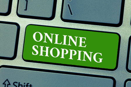 Text sign showing Online Shopping. Conceptual photo allows consumers to buy their goods over the Internet. Stock Photo