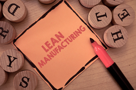 Text sign showing Lean Manufacturing. Conceptual photo Waste Minimization without sacrificing productivity. Stok Fotoğraf