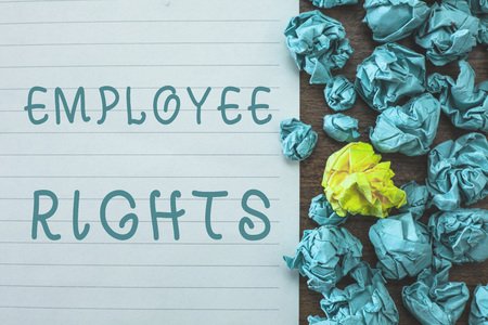 Conceptual hand writing showing Employee Rights. Business photo text All employees have basic rights in their own workplace. Archivio Fotografico - 108916730