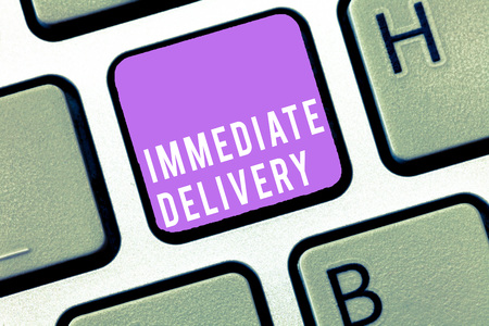 Text sign showing Immediate Delivery. Conceptual photo Send it Now Custom Procedure to dispose Promptly. Фото со стока
