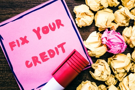 Handwriting text Fix Your Credit. Stockfoto