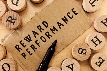 Handwriting text writing Reward Performance. Concept meaning Appraisal Recognize workers Relative Worth to the company.