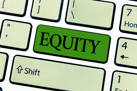 Writing note showing Equity. Business photo showcasing quality of being fair and impartial race free One hand Unity.