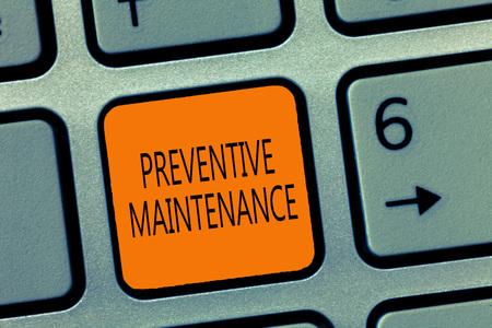 Writing note showing Preventive Maintenance. Business photo showcasing Avoid Breakdown done while machine still working.