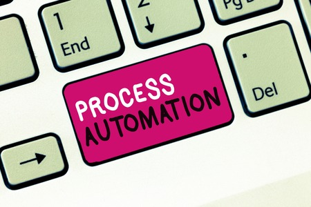 Conceptual hand writing showing Process Automation. Business photo showcasing Transformation Streamlined Robotic To avoid Redundancy.