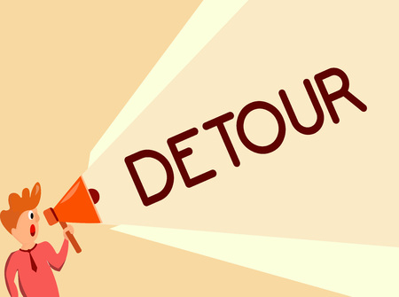 Writing note showing Detour. Business photo showcasing long or roundabout route taken to avoid something or visit somewhere. Standard-Bild