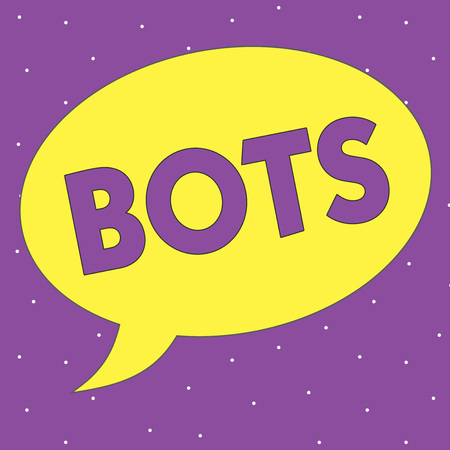 Text sign showing Bots. Conceptual photo Automated program that runs over the Internet Artificial intelligence. Stock fotó