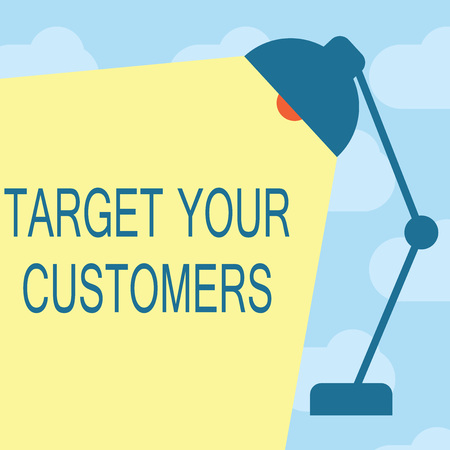 Text sign showing Target Your Customers. Conceptual photo Specific Range and Interest Potential Users and Buyers. Foto de archivo