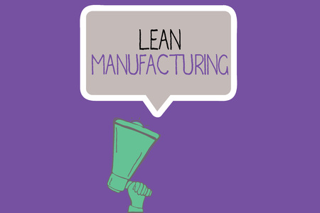 Conceptual hand writing showing Lean Manufacturing. Business photo showcasing Waste Minimization without sacrificing productivity. Stock Photo