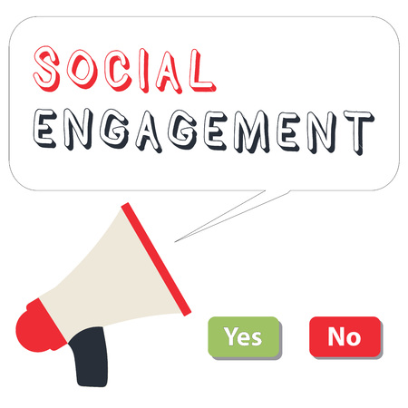 Word writing text Social Engagement. Business concept for Degree of engagement in an online community or society.