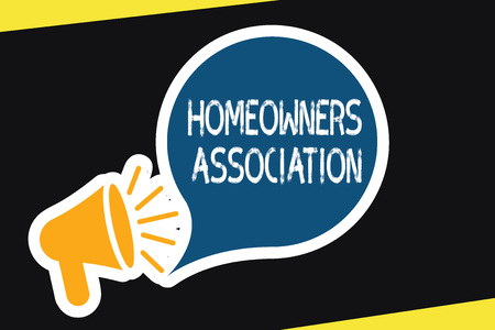 Handwriting text Homeowners Association. Concept meaning Organization with fee for upkeeps of Gated Community. Imagens