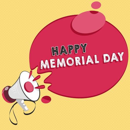Wortschreibtext Happy Memorial Day. Geschäftskonzept zur Ehre Erinnerung an diejenigen, die im Militärdienst gestorben sind.