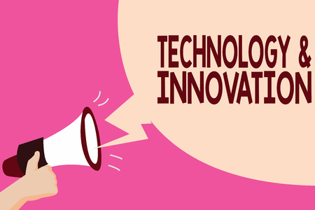 Writing note showing TechnologyandInnovation. Business photo showcasing Application of better Solution for New Market Needs. Stockfoto