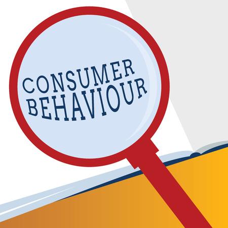Escritura de texto Word el comportamiento del consumidor. Concepto de negocio para las decisiones que las personas toman para comprar o no comprar un producto.