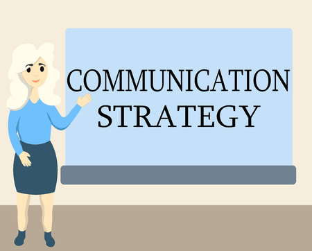 Writing note showing Communication Strategy. Business photo showcasing Verbal Nonverbal or Visual Plans of Goal and Method.