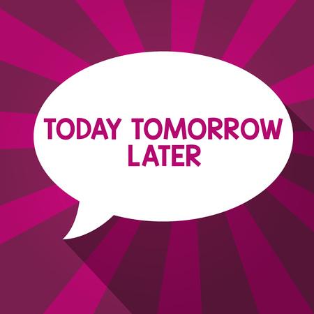 Escribir nota mostrando hoy mañana después. Exhibición fotográfica de negocios en la actualidad, en el futuro, poco después, en el futuro. Foto de archivo