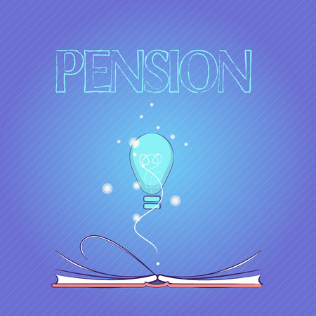 Word writing text Pension. Business concept for Income seniors earn after retirement Saves for elderly years.