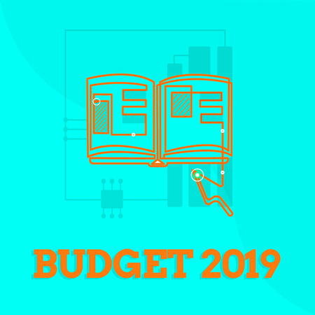 Text sign showing Budget 2019. Conceptual photo New year estimate of incomes and expenses Financial Plan.