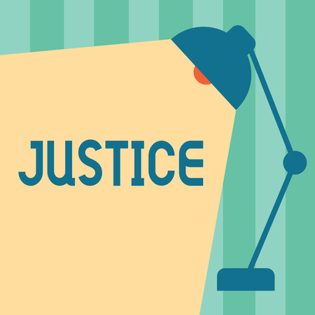 Word writing text Justice. Business concept for Quality of being just impartial or fair Administration of law rules. Stock Photo