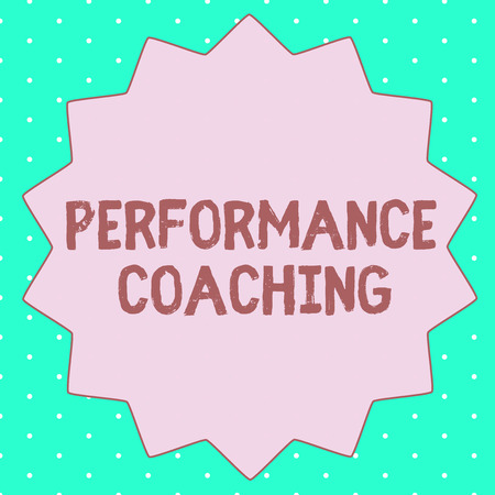 Text sign showing Performance Coaching. Conceptual photo Facilitate the Development Point out the Good and Bad. Stock Photo