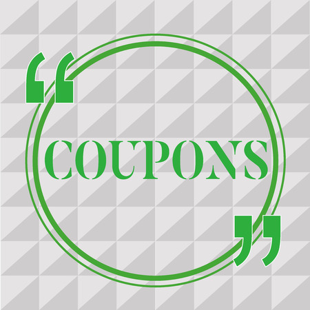 Handwriting text writing Coupons. Concept meaning Certificate Ticket Label for discount gift price Promotion Sale. Stock Photo