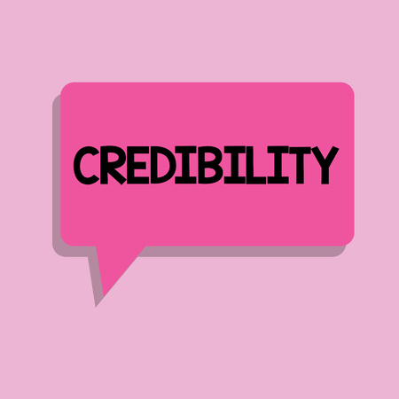Handwriting text Credibility. Concept meaning Quality of being convincing trusted credible and believed in. Фото со стока