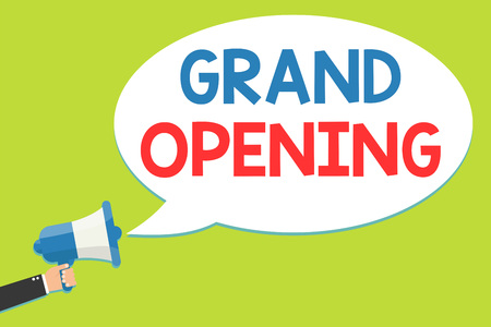 Word writing text Grand Opening. Business concept for Ribbon Cutting New Business First Official Day Launching Man holding megaphone loudspeaker speech bubble message speaking loud