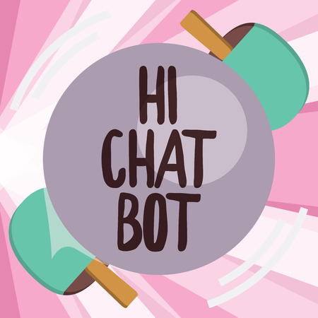 Conceptual hand writing showing Hi Chat Bot. Business photo showcasing Greeting to robot machine who answers to a sent message.