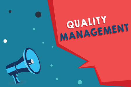 Word writing text Quality Management. Business concept for Maintain Excellence Level High Standard Product Services. Stock Photo