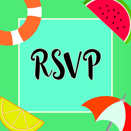 Handwriting text writing Rsvp. Concept meaning Please reply to an invitation indicating whether one plans to attend.