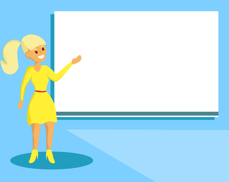 Flat design Vector Illustration Empty esp template copy text for Ad, promotion, poster, flyer, web banner, article. Woman Standing Talking Hand Presenting Audio Visual Blank Projector Screen