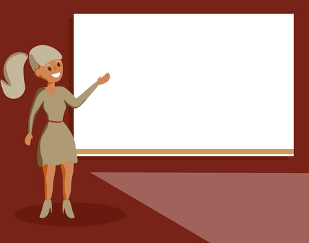 Flat design business Vector Illustration Empty template esp isolated Minimalist graphic layout template for advertising. Woman Standing Talking Hand Presenting Audio Visual Blank Projector Screen