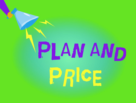 Writing note showing  Plan And Price. Business photo showcasing setting decent price for product to sale according market.
