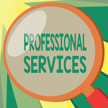Conceptual hand writing showing Professional Services. Business photo showcasing offer Knowledge based help some require Licensed. Stock Photo
