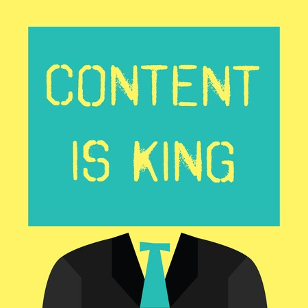 Text sign showing Content Is King. Conceptual photo Content is the heart of today s marketing strategies. Stock Photo