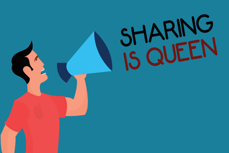 Writing note showing Sharing Is Queen. Business photo showcasing giving others information or belongs is great quality. Stock Photo
