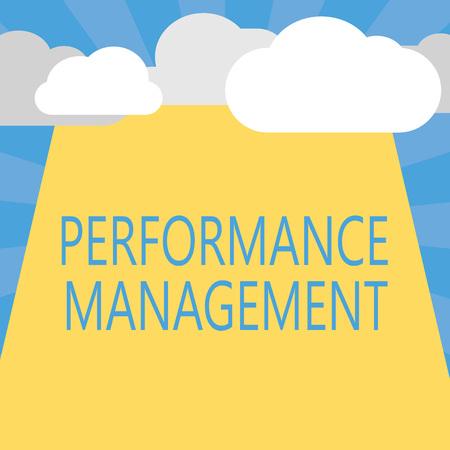 Escribir nota que muestra la gestión del rendimiento. Exhibición fotográfica de negocios Mejorar la contribución general de la eficacia de los empleados. Foto de archivo