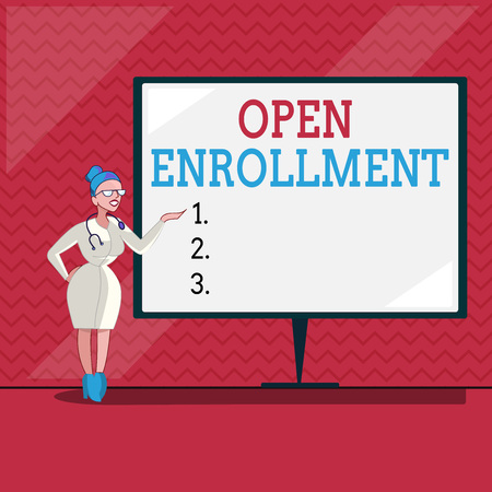 Word writing text Open Enrollment. Business concept for The yearly period when people can enroll an insurance.