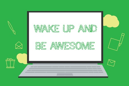 Conceptual hand writing showing Wake Up And Be Awesome. Business photo showcasing Rise up and Shine Start the day Right and Bright. Reklamní fotografie