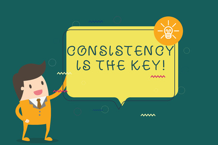nota de la escritura que muestra consistencia es la foto conceptual de negocios que significa la decisión correcta para tomar un formulario de descanso que da un consejo .