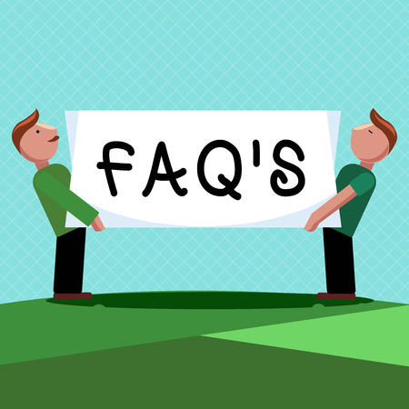 Word writing text Faq s is. Business concept for list of questions and answers relating to a particular subject.