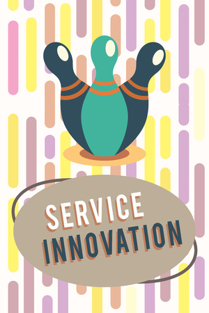 Text sign showing Service Innovation. Conceptual photo Improved Product Line Services Introduce upcoming trend.