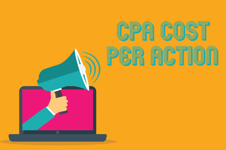 Conceptual hand writing showing Cpa Cost Per Action. Business photo text Commission paid when user Clicks on an Affiliate Link. Banco de Imagens