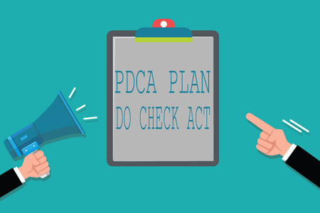 Word writing text Pdca Plan Do Check Act. Business concept for Deming Wheel improved Process in Resolving Problems.