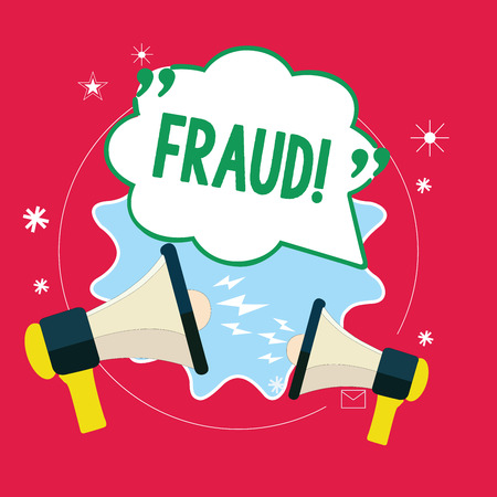 Handwriting text Fraud. Concept meaning wrongful criminal deception intended result financial or personal gain.