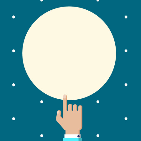 Flat design business Vector Illustration Empty template Layout for invitation greeting card promotion poster voucher. Male Human Hand Pointing up Index finger Touching Solid Color Circle