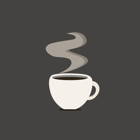 Flat design business Vector Illustration Empty copy space for Ad website promotion esp isolated Banner template. Cup Filled up of Coffee or Tea Steaming Hot with steam icon and shadow Stock Illustratie