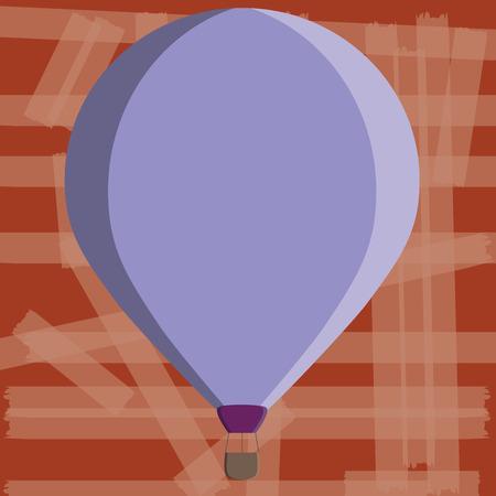 Platte ontwerp bedrijf Vector Illustratie concept kopiëren tekst voor esp Webbanners promotiemateriaal mock up sjabloon. Drie toned Color Hot Air Balloon drijvend met mand vastgebonden opknoping eronder