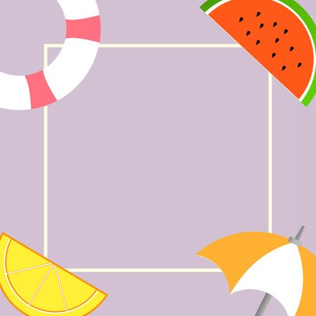 Flat design business Vector Illustration concept Empty copy space modern abstract background Geometric element. Things related to Summertime Beach items on four corners with center space