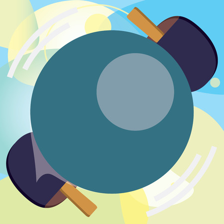 Flat design business Vector Illustration Empty template esp isolated Minimalist graphic layout template for advertising. Table Tennis Racket Hit the Moving Spinning  Ball closeup view Illusztráció